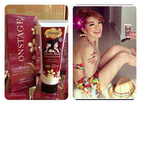 Onstage Gluta Body Whitening with Sunscreen SPF50PA+++ 200g. (ครีมออนสเตจ)